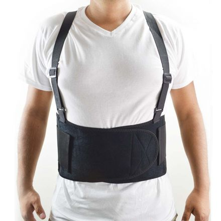 Interstate Safety 40150-M Economy Double Pull Elastic Back Support Belt with Adjustable Shoulder Straps - Medium