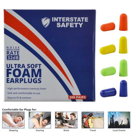 Interstate Safety 40205 Ultra-Soft Foam Earplugs, Box of 200 Pair - 32dB Highest NRR - 4 Assorted Colors