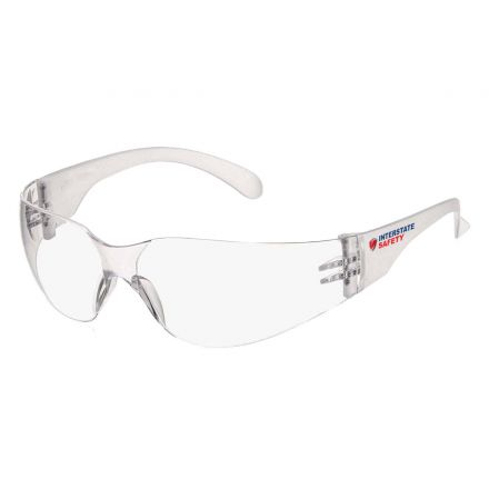 Interstate Safety 40251 Polycarbonate Impact Resistant Safety Glasses, Clear Frame and Lens