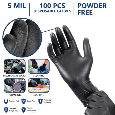 Interstate Safety 40312 5 MIL Black Powder-Free Nitrile Disposable Gloves - (XL Size)