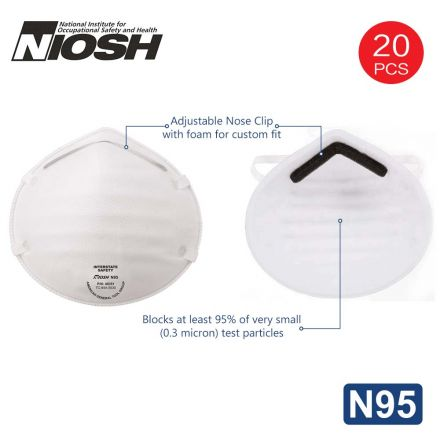 Interstate Safety 40351 N95 Disposable Dust Masks NIOSH-Certified Particulate Respirator for Cleaning, Construction, Woodworking & Mowing - (20-Pack)