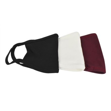 Interstate Safety 40361 Reusable Unisex Face Masks Assorted Kit with Round/Ear Loop - 100% Cotton (WHITE / BLACK / MAROON)