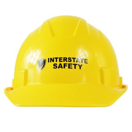 Interstate Safety 40401 Snap Lock 6 Point Ratchet Suspension Front Brim Hard Hat / Safety Helmet with Cap-Mount Ear Muff Slots - 6-1/2 Inch to 8 Inch Headband Size - Yellow Color