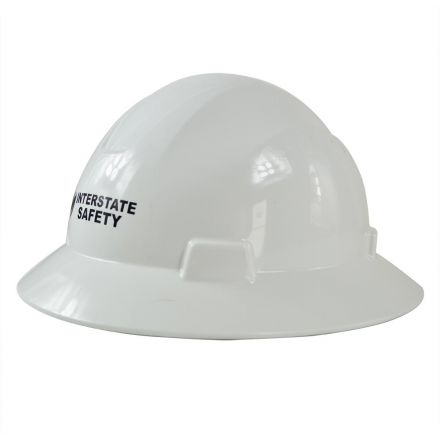 Interstate Safety 40402 Snap Lock 4 Point Ratchet Suspension Full Brim Hard Hat / Safety Helmet - 6-1/2 Inch to 8 Inch Heads - White Color