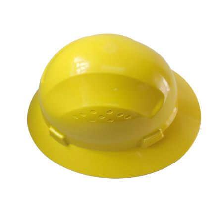 Interstate Safety 40408 Snap Lock 4 Point Ratchet Suspension Full Brim Hard Hat / Safety Helmet - 6-1/2 Inch to 8 Inch Heads - Yellow Color