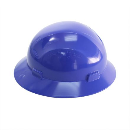 Interstate Safety 40409 Snap Lock 4 Point Ratchet Suspension Full Brim Hard Hat / Safety Helmet - 6-1/2 Inch to 8 Inch Heads - Blue Color