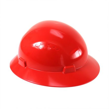 Interstate Safety 40410 Snap Lock 4 Point Ratchet Suspension Full Brim Hard Hat / Safety Helmet - 6-1/2 Inch to 8 Inch Heads - Red Color