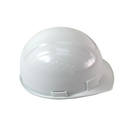 Interstate Safety 40411 Snap Lock 6 Point Ratchet Suspension Front Brim Hard Hat / Safety Helmet with Cap-Mount Ear Muff Slots - 6-1/2 Inch to 8 Inch Headband Size - White Color