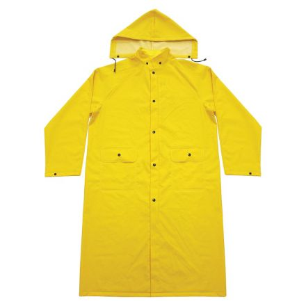 Interstate Safety 40450 PVC Polyester Rain Coat with Detachable Hood - LARGE
